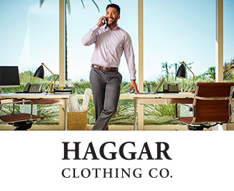 Photo of man wearing Haggar slacks